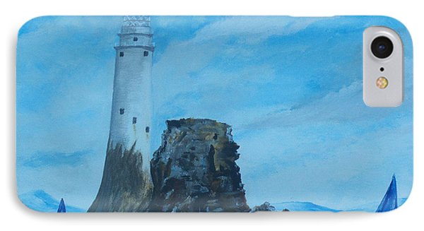 IPhone Case featuring the painting Fastnet Rock Lighthouse. by Conor Murphy