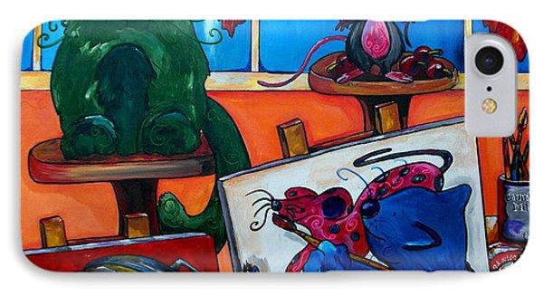 Fat Cats Take Over My Art Studio Phone Case by Patti Schermerhorn