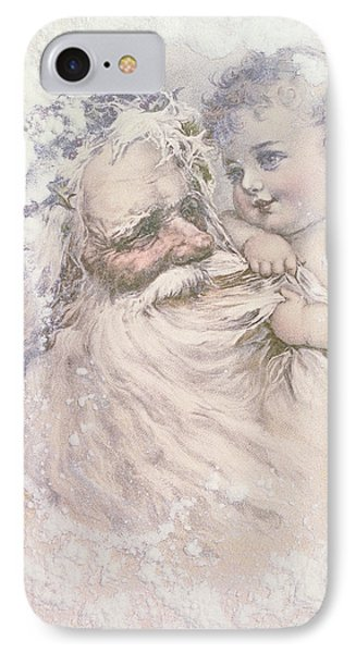Father Christmas And A Child IPhone Case by English School