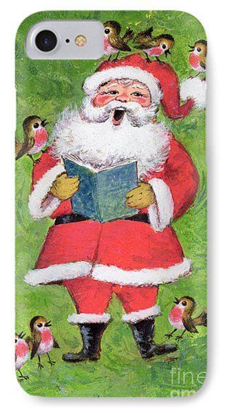 Father Christmas And Robin Chorus IPhone Case by Stanley Cooke