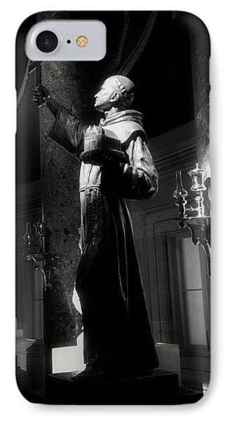 IPhone Case featuring the photograph Father Junipero Serra In Black And White by Chrystal Mimbs