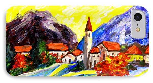 Fauvist Paint Village.    IPhone Case by Maria S Poli