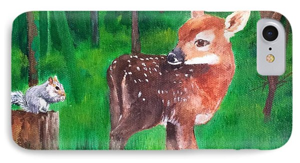 Fawn With Squirrel IPhone Case