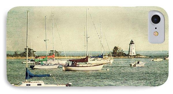 Fayerweather Island Lighthouse - Bridgeport Lighthouse - Black Rock Harbor IPhone Case by Joann Vitali