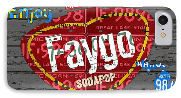Faygo Soda Pop Recycled Vintage Michigan License Plate Art On Gray Distressed Barn Wood IPhone Case by Design Turnpike