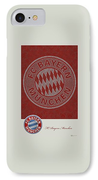 Fc Bayern Munich Logo And 3d Badge IPhone Case by Serge Averbukh