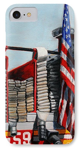 Harlem iPhone 7 Case - Fdny Engine 59 American Flag by Paul Walsh