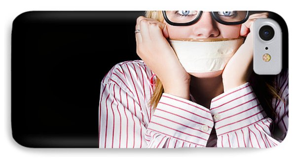 Fearful Business Nerd Silenced With Mouth Tape IPhone Case
