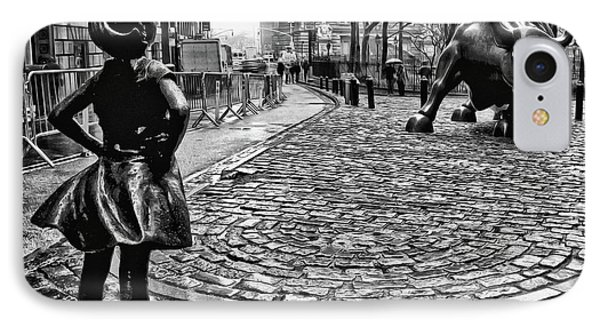 Fearless Girl And Wall Street Bull Statues 3 Bw IPhone Case