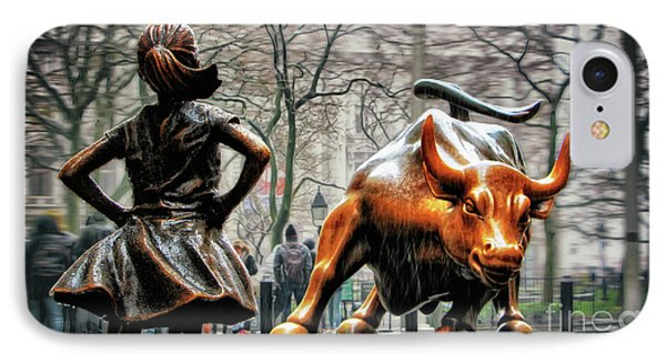 Fearless Girl And Wall Street Bull Statues Phone Case by Nishanth Gopinathan