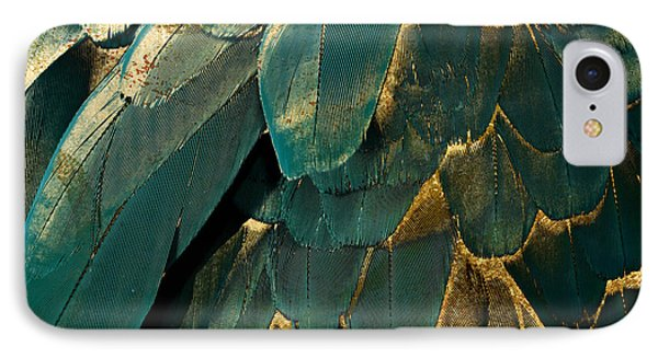 Feather Glitter Teal And Gold IPhone Case by Mindy Sommers