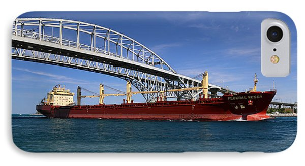 Federal Weser And Blue Water Bridge IPhone Case by Mary Bedy