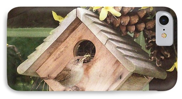 IPhone Case featuring the digital art Feeding Birds by Barbara S Nickerson
