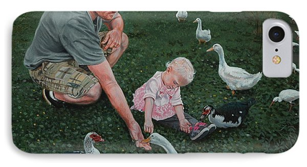Feeding Ducks With Daddy Phone Case by Michael Nowak