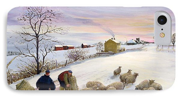 Feeding Sheep In Winter IPhone Case by Margaret Loxton