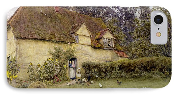 Feeding The Fowls IPhone Case by Helen Allingham