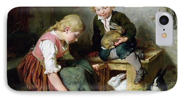 Feeding The Rabbits IPhone Case by Felix Schlesinger