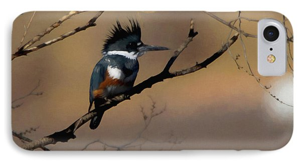 IPhone Case featuring the digital art Female Belted Kingfisher by Ernie Echols