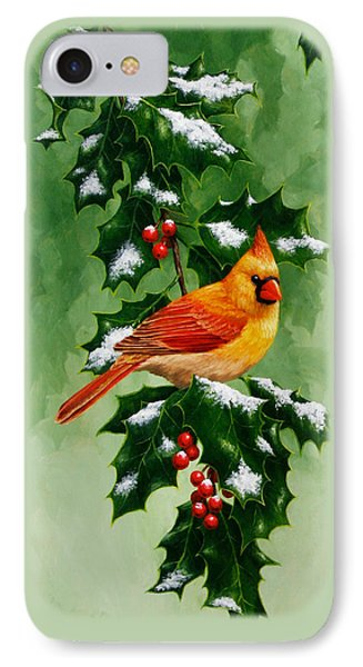 Female Cardinal And Holly Phone Case IPhone 7 Case by Crista Forest
