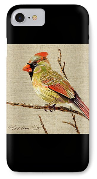 IPhone Case featuring the painting Female Cardinal by Bob Coonts
