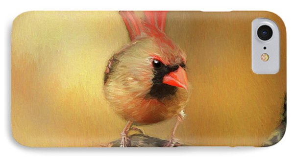 IPhone Case featuring the photograph Female Cardinal Excited For Spring by Darren Fisher