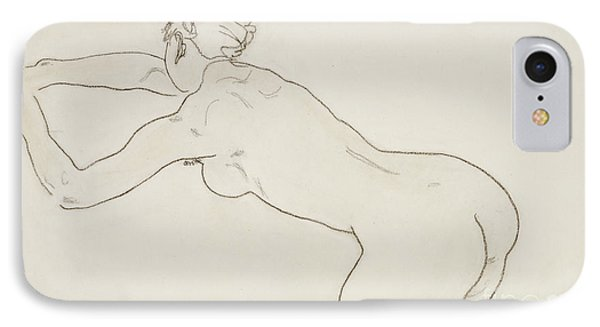 Female Nude Kneeling And Bending Forward To The Left Phone Case by Egon Schiele