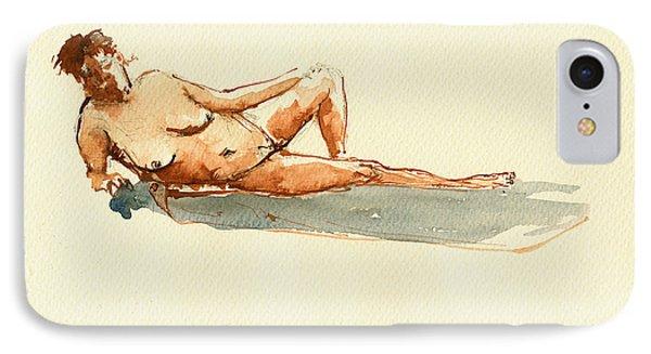 Female Nude Watercolor IPhone Case by Juan  Bosco
