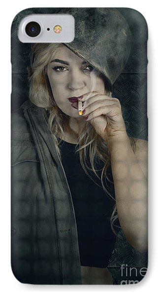 Female Pinup Soldier Smoking Cigarette In Foxhole IPhone Case
