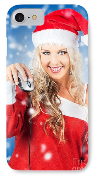 Female Santa Claus Christmas Shopping Online IPhone Case