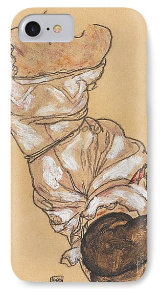 Female Torso In Lingerie And Black Stockings IPhone Case by Egon Schiele