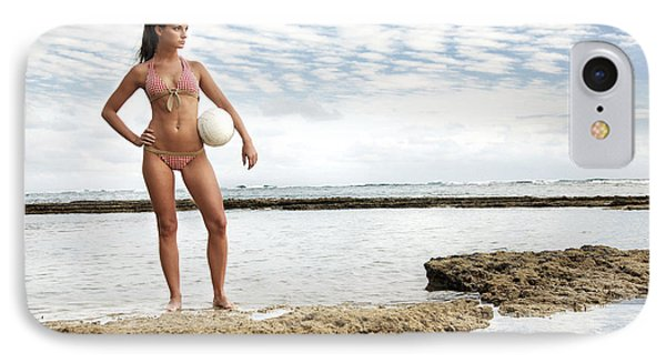 Female With Volleyball Phone Case by Brandon Tabiolo - Printscapes