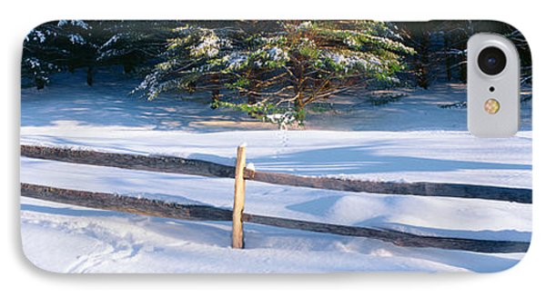 Fence And Snow In Winter, Vermont IPhone Case by Panoramic Images