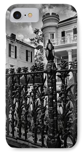 Fence At Cornstalk Hotel In Black And White IPhone Case