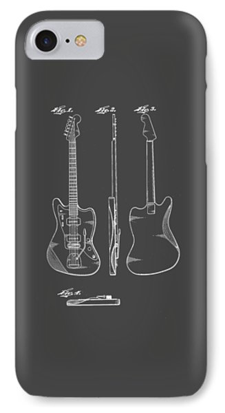Fender Guitar Drawing Tee IPhone Case by Edward Fielding