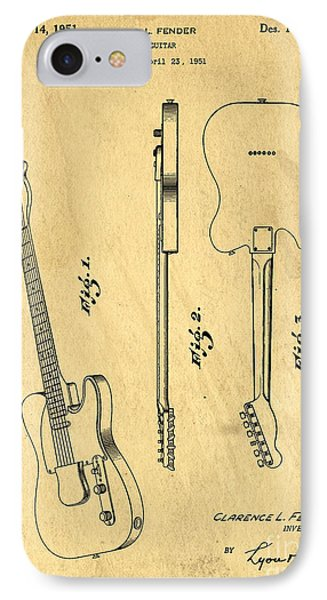 Fender Guitar Patent IPhone Case by Edward Fielding
