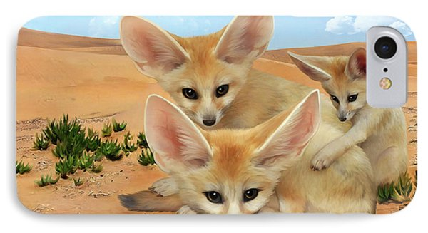 IPhone Case featuring the digital art Fennec Foxes by Thanh Thuy Nguyen