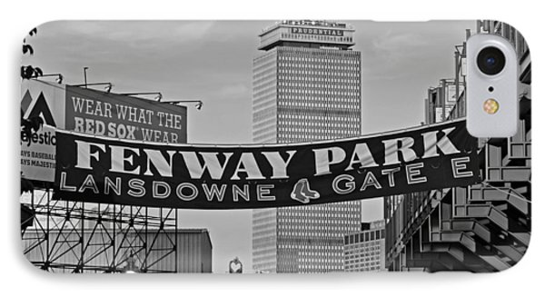 Fenway Park Banners Boston Ma Black And Whtie IPhone Case by Toby McGuire