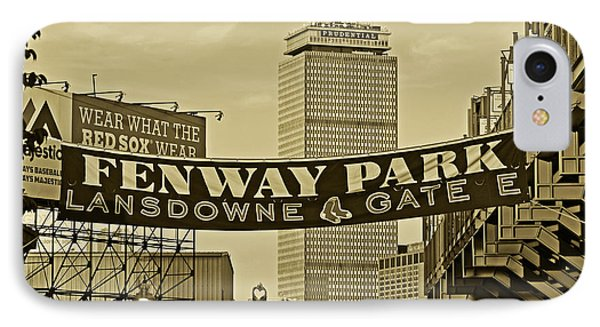 Fenway Park Banners Boston Ma Sepia IPhone Case by Toby McGuire