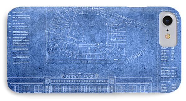 Fenway Park Blueprints Home Of Baseball Team Boston Red Sox On Worn Parchment IPhone Case by Design Turnpike