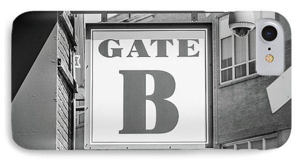 Fenway Park Gate B Sign Black And White Photo IPhone Case by Paul Velgos