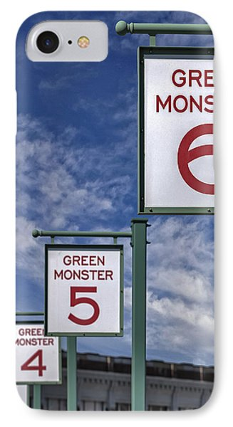 Fenway Park Green Monster Section Signs IPhone Case by Susan Candelario
