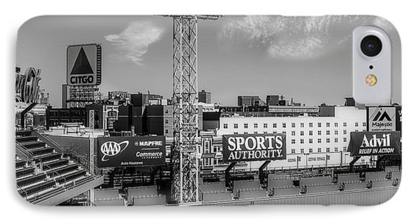 Fenway Park Green Monster Wall Bw IPhone Case by Susan Candelario