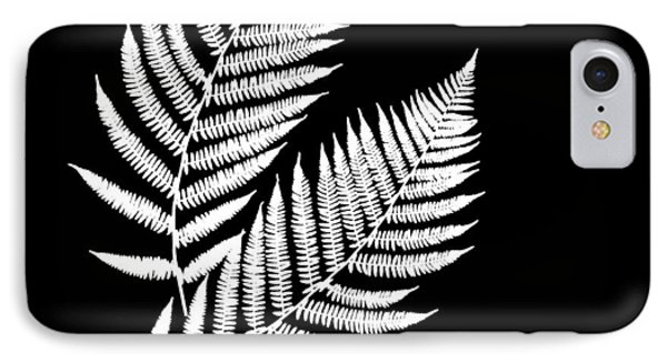 IPhone Case featuring the mixed media Fern Pattern Black And White by Christina Rollo