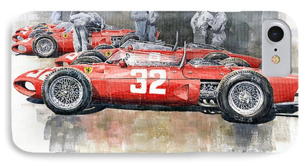 1961 Ferrari 156 Italian Gp 1961 IPhone Case by Yuriy  Shevchuk