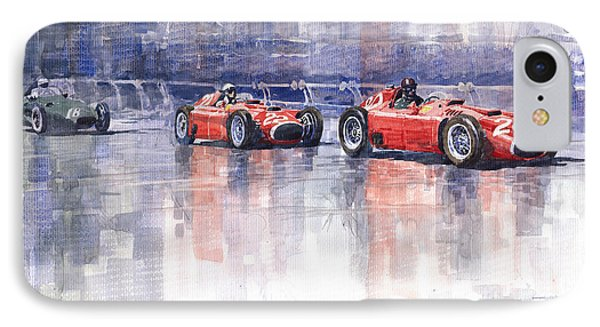Ferrari D50 Monaco Gp 1956 IPhone Case by Yuriy  Shevchuk