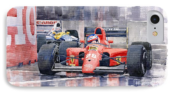 Car iPhone 7 Case - 1991 Ferrari F1 Jean Alesi Phoenix Us Gp Arizona 1991 by Yuriy Shevchuk