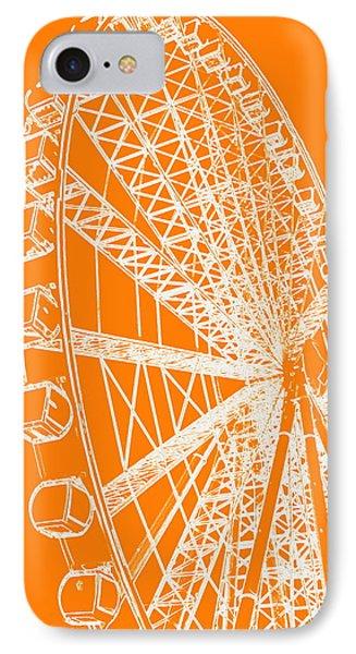 Ferris Wheel Silhouette Orange White IPhone Case