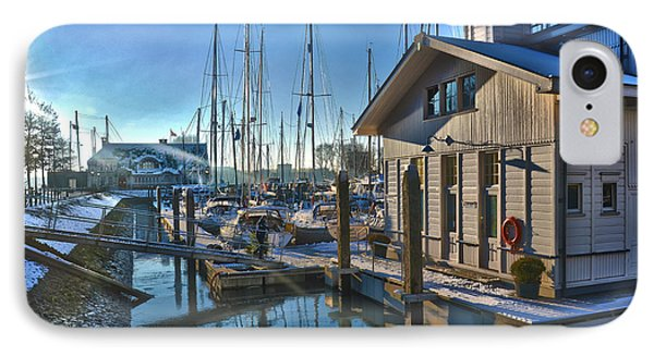 IPhone Case featuring the photograph Ferry Harbour In Winter by Frans Blok
