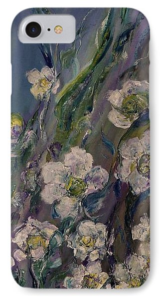 Fields Of White Flowers IPhone Case by AmaS Art