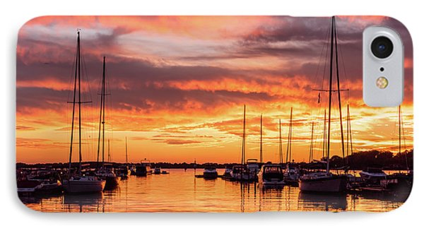 Fiery Lake Norman Sunset IPhone Case by Serge Skiba
